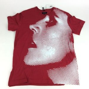 Akoo Mens Red Fingerprint Face T Shirt